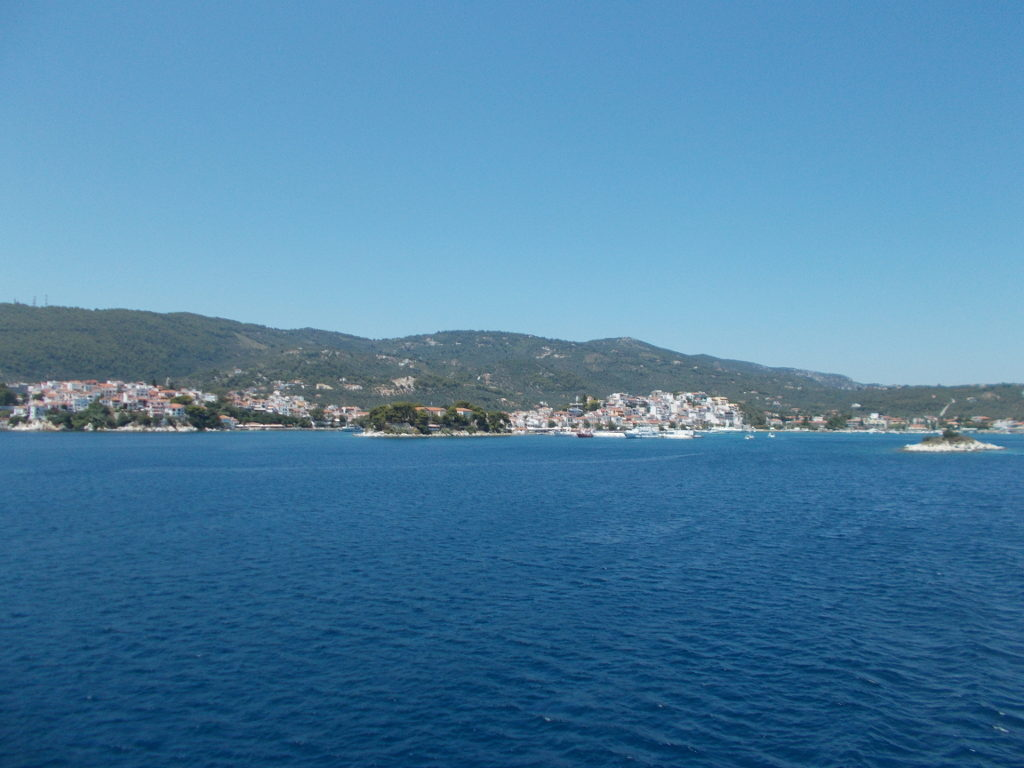 Looking towards Skiathos Town from the ferry